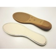 Solado Sapatilha PVC Bege Ref. 110 + Palmilha Marfim com viés Dourado - Grade 15 pares