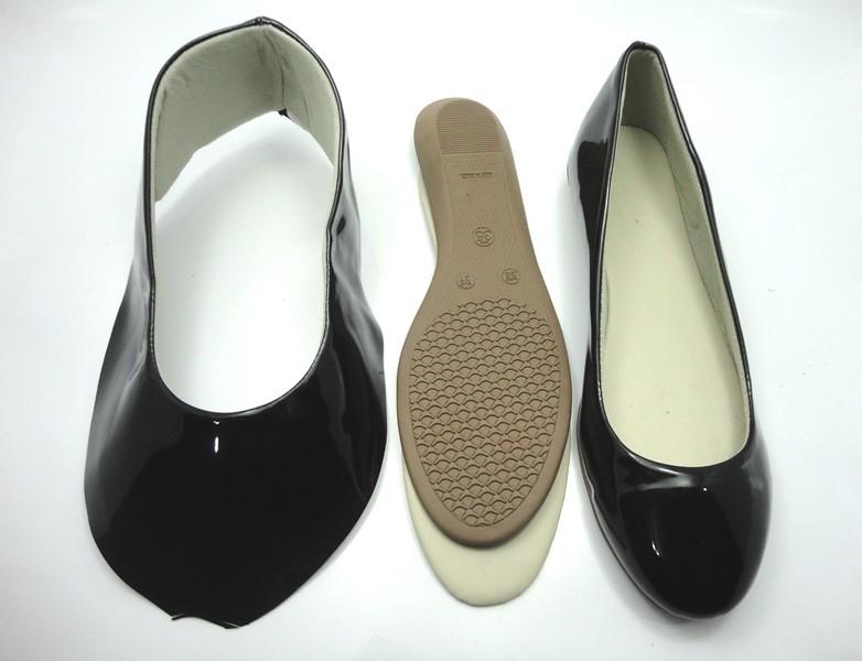 Kit para fabricação de sapatilhas bico redondo - Verniz preto