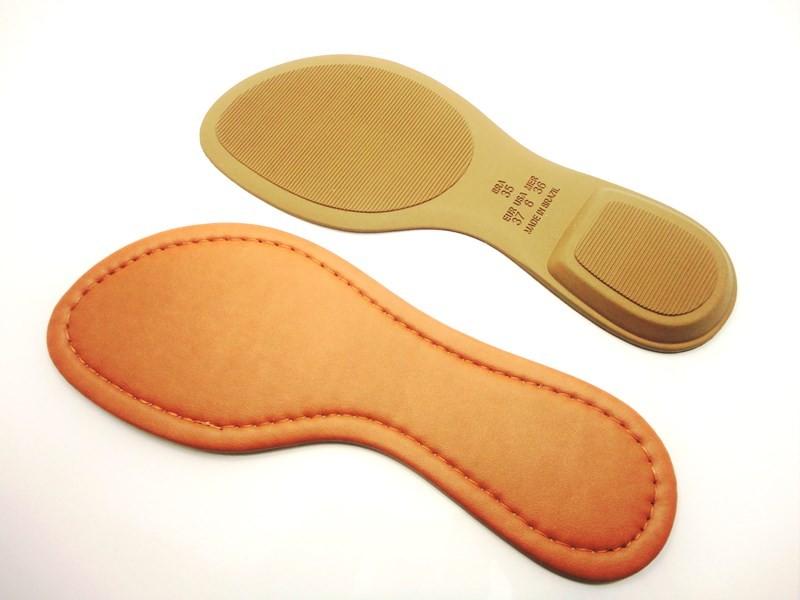 Solado Rasteirinha PVC Bege + Palmilha Costurada Caramelo - Grade 15 pares