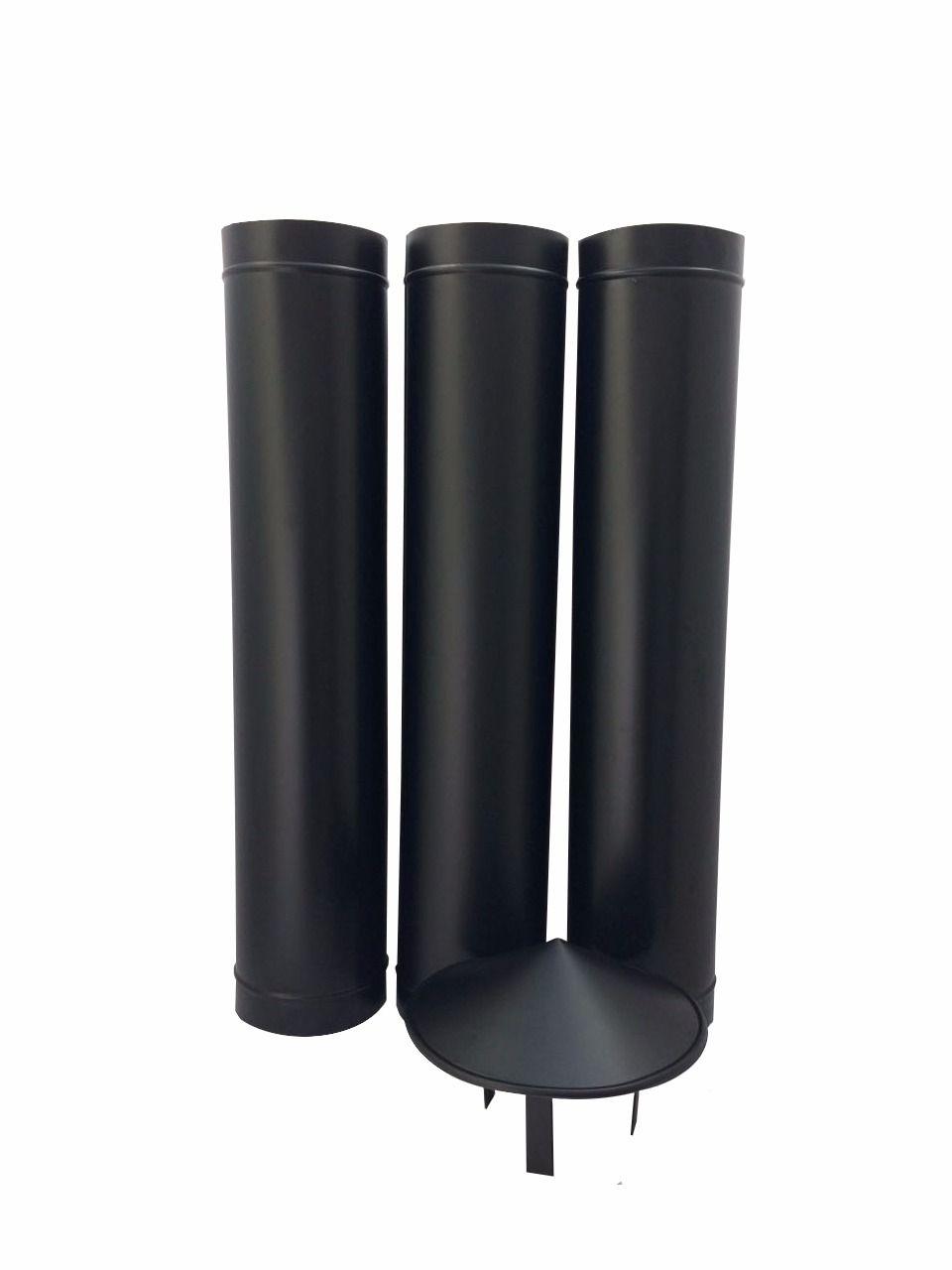 1,80 m de duto preto de 200 mm de diâmetro com chapéu chinês  - Galvocalhas