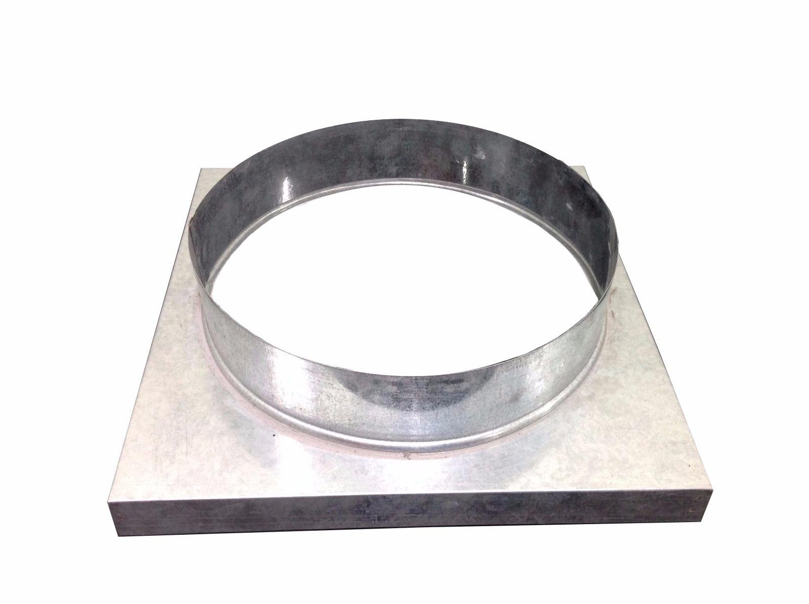 Adaptador galvanizado de quadrado 30,5 x 30,5 cm para redondo 115 mm de diâmetro  - Galvocalhas