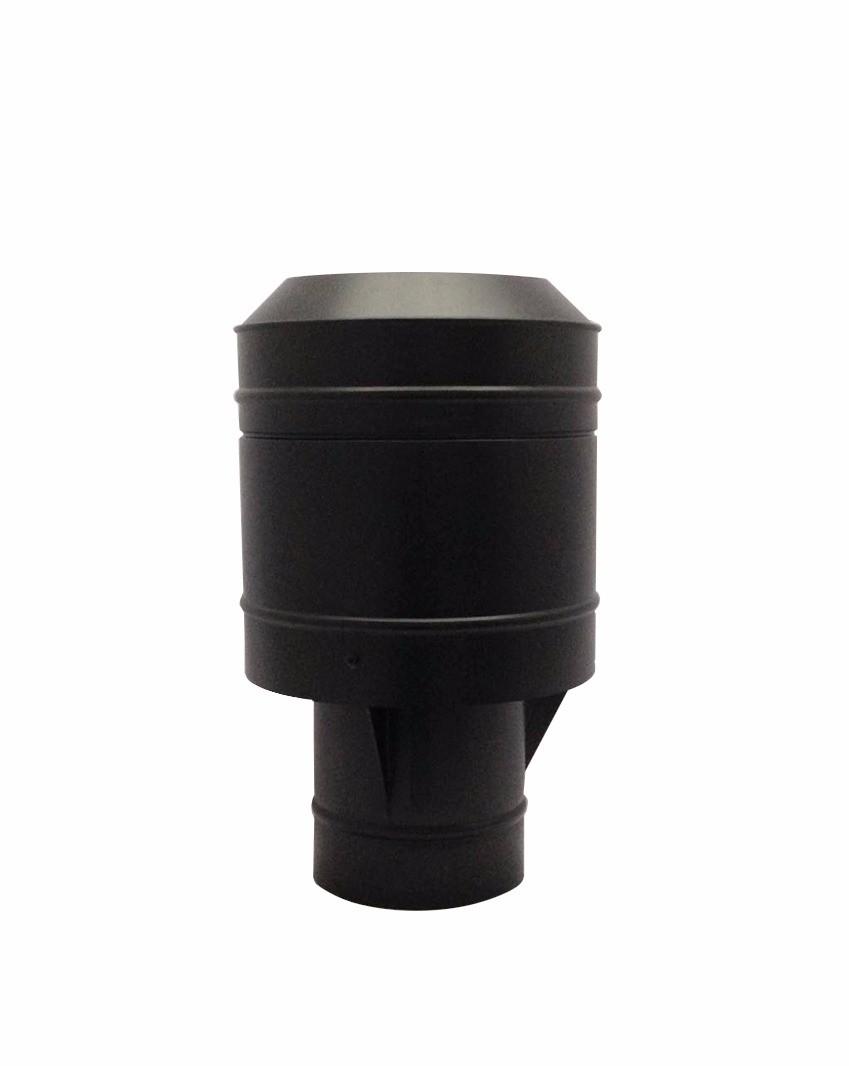 Chapéu preto tipo canhão sputinik para chaminé de 200 mm de diâmetro.  - Galvocalhas