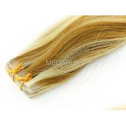 PROMOÇÃO 20% - Mega Hair Fita Adesiva Classic 20 Peças Loiro Mechado #9/12 Cabelo Humano 55cm