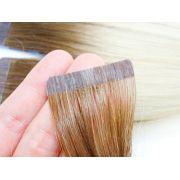 PROMOÇÃO 20% - Mega Hair Fita Adesiva Classic 20 Peças Ombre Loiro #7/12 Cabelo Humano 55cm