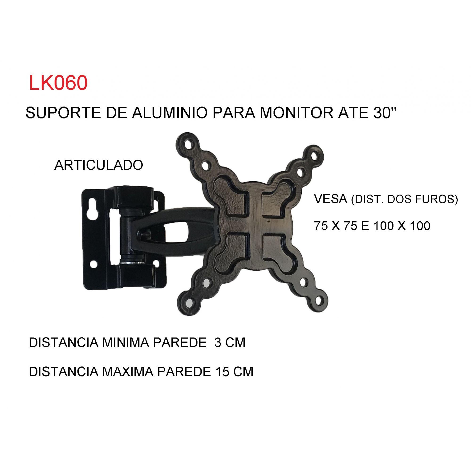 """SUPORTE ARTICULADO DE ALUMÍNIO PARA MONITOR ATÉ 30"""" LK060"""