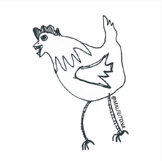 adesivinho galinha fazendo rééé