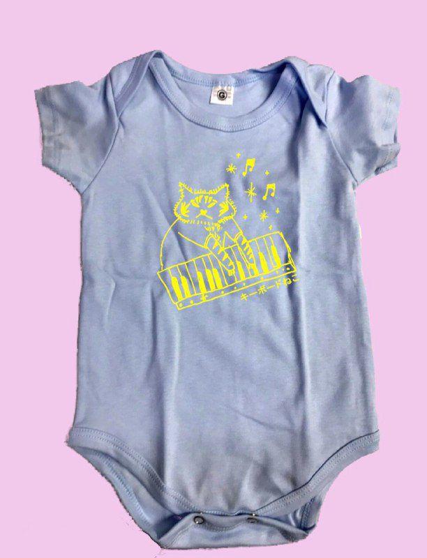 Body de bebezineo azulzineo gatinho do teclado