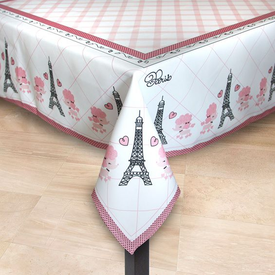 Toalha de Mesa Poodle Paris mesa 4 lugares