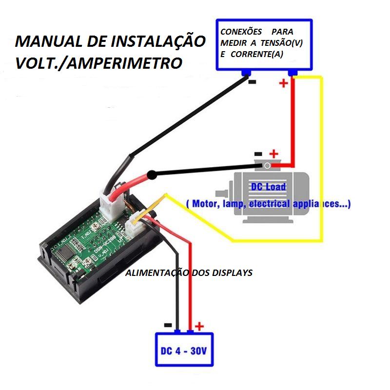 Voltimetro/amperimetro Dc Digital 0-100v 0-10a