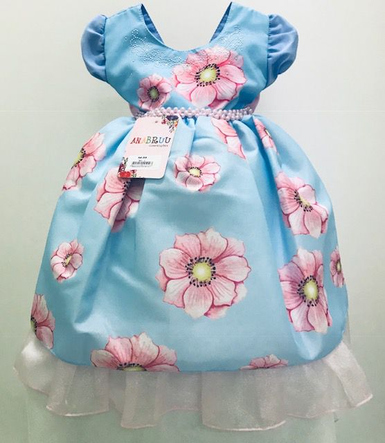6f6658bb1a Vestido de Festa Infantil Floral Azul - Giz de Cera Infanto Juvenil