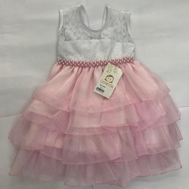 98f056575 Vestido de Festa Infantil Delicado Branco e Rosa - Giz de Cera Infanto  Juvenil