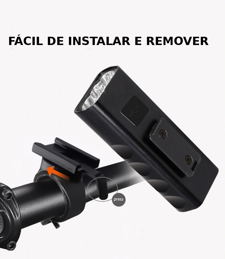 Farol de Bike bateria Embutida  1000 lúmens 5200 Mah Power bank