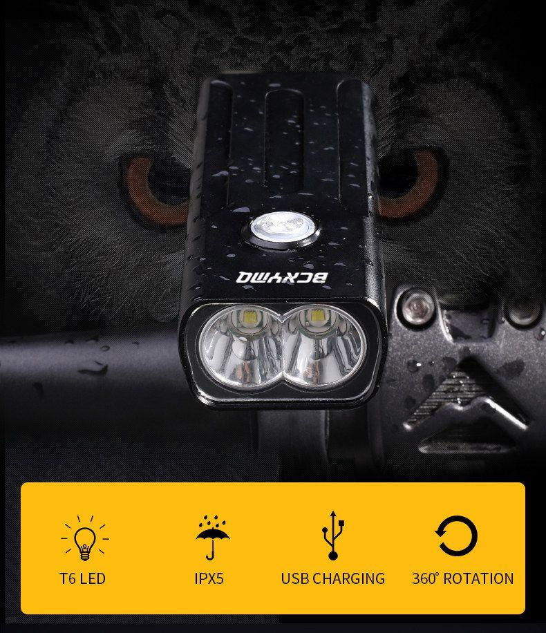 Farol de Bike Bateria embutida Led T6 1000l lúmens Bx2 6h