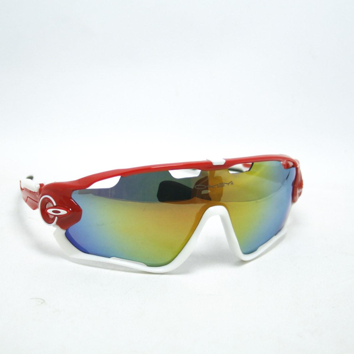 Óculos Oakley Jawbreaker Polarizado 5 Lentes Vermelho/branco