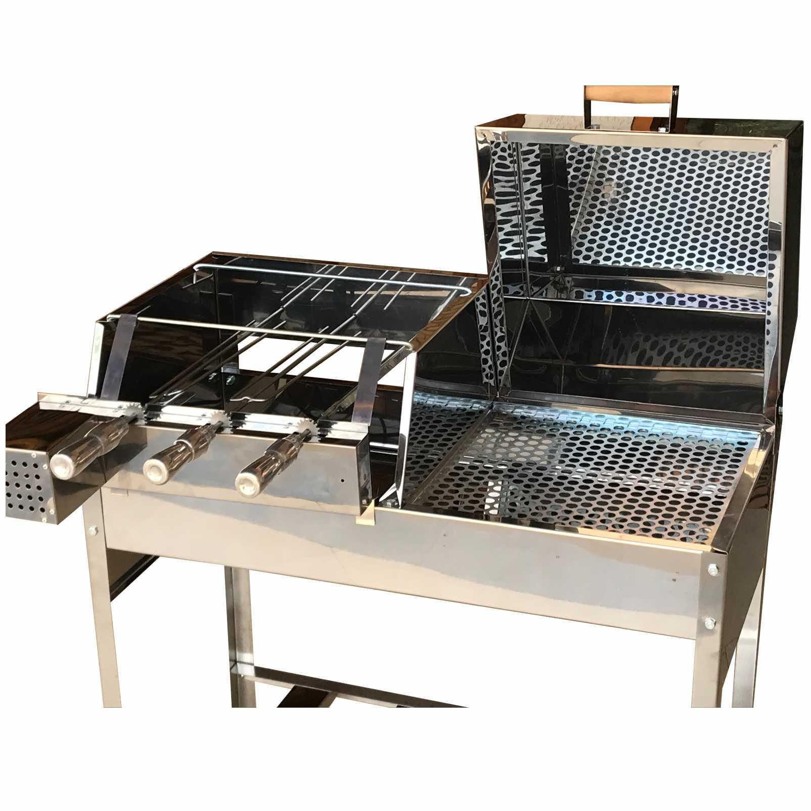 Churrasqueira Carvão Inox Mista Meio Bafo E Grill Giratório Tam 85x41 Com Kit Giratório 3 Espetos