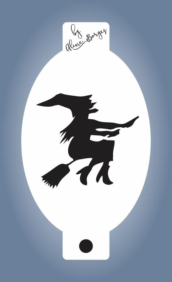 Stencil de Bruxa na Vassoura