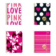 Caderno Espiral Capa Dura Universitário 10 Matérias Love Pink 200 Folhas Tilibra