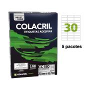 Etiqueta Carta 25,4mm x 66,7mm 500 folhas CC180 Colacril