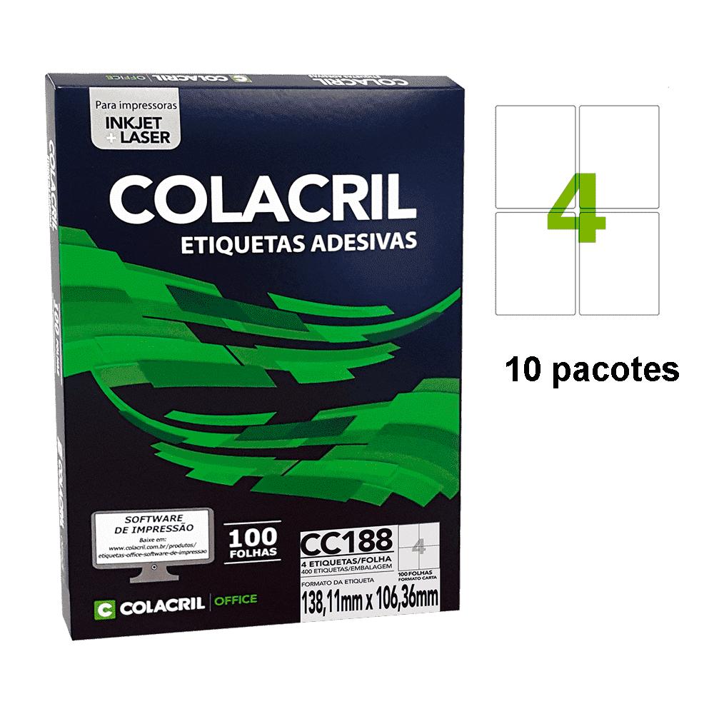 Etiqueta Carta 138,11mm x 106,36mm 500 folhas CC188 Colacril