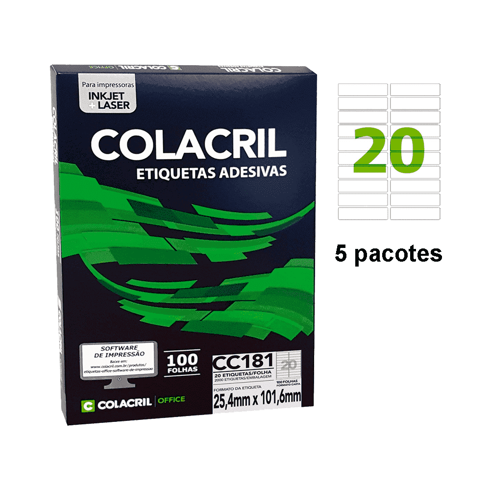 Etiqueta Carta 25,4mm x 101,6mm 500 folhas CC181 Colacril