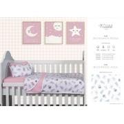 Kit Baby 2 peças para berço padrão americano - 100% em malha de algodão - Bichinhos Rosa e Azul