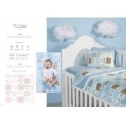 Kit Baby 3 peças para berço padrão americano - 100% em malha de algodão - Ovelhinhas Rosa -Ovelhinhas Azul