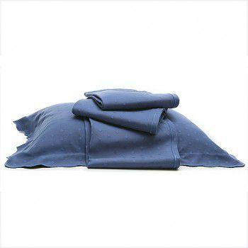Kit Colcha Pois Azul Índigo