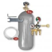 Kit Extração 3 Vias + Cilindro 6Kg Para Chopp Ou Cerveja Artesanal
