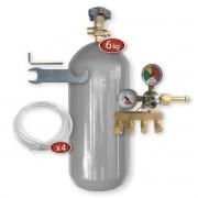 Kit Extração 4 Vias + Cilindro Co2 6Kg Para Chopp Ou Cerveja Artesanal