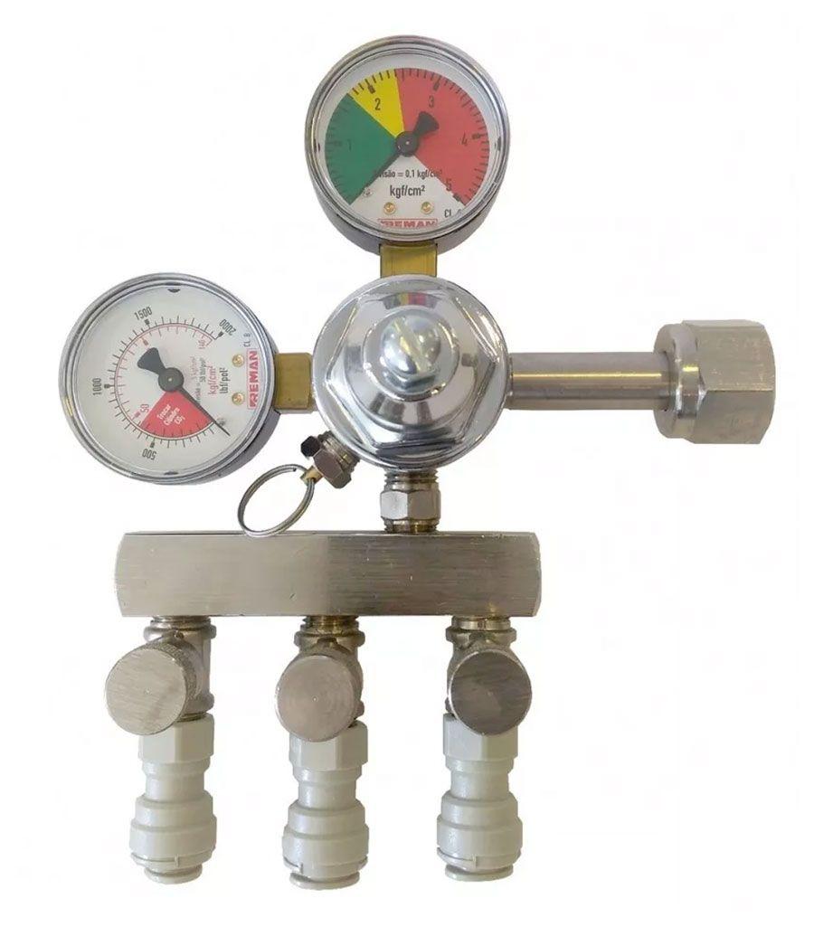 KIT 5 REGULADORES DE PRESSÃO CO2 PARA CHOPP 3 SAÍDAS COM ENGATE RÁPIDO