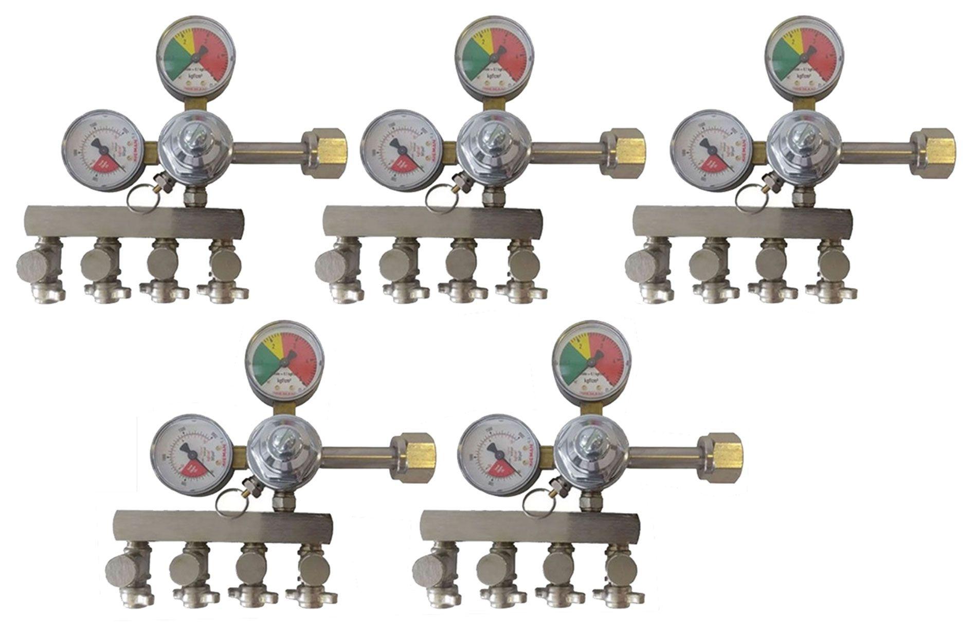 KIT 5 REGULADORES DE PRESSÃO CO2 PARA CHOPP 4 SAÍDAS AJUSTE FINO