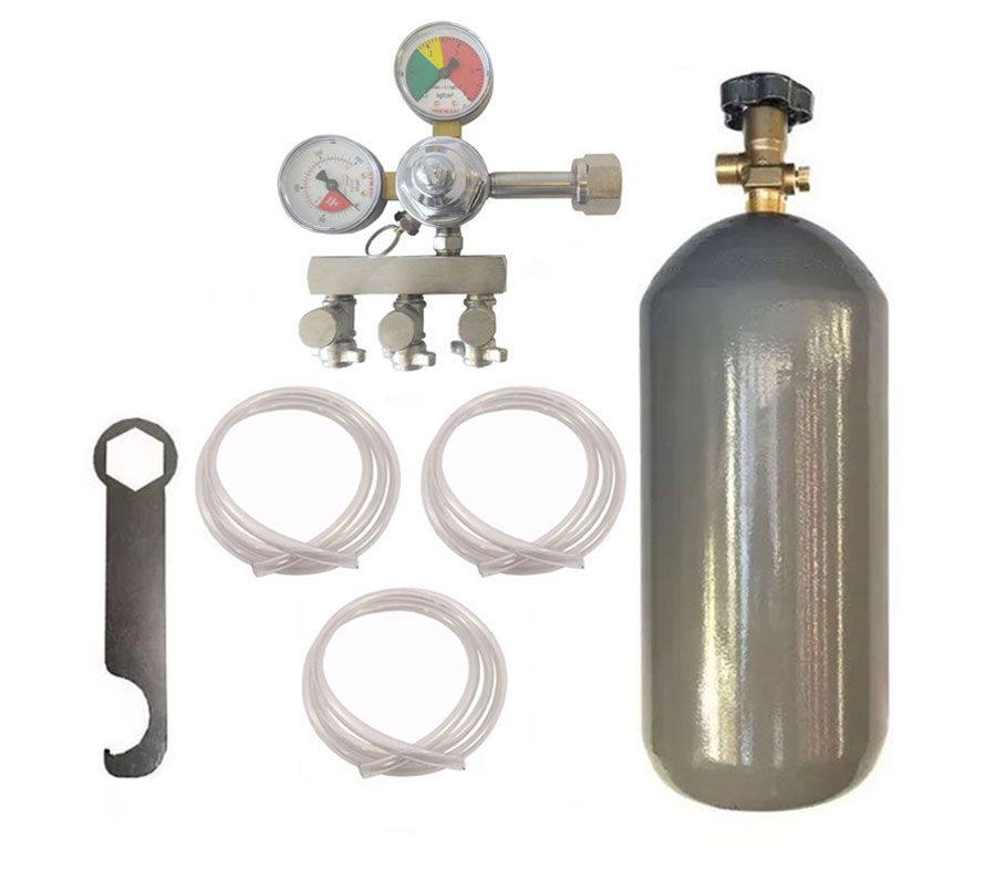 KIT DE EXTRAÇÃO CO2 4KG COM REGULADOR DE 3 VIAS PARA CHOPP