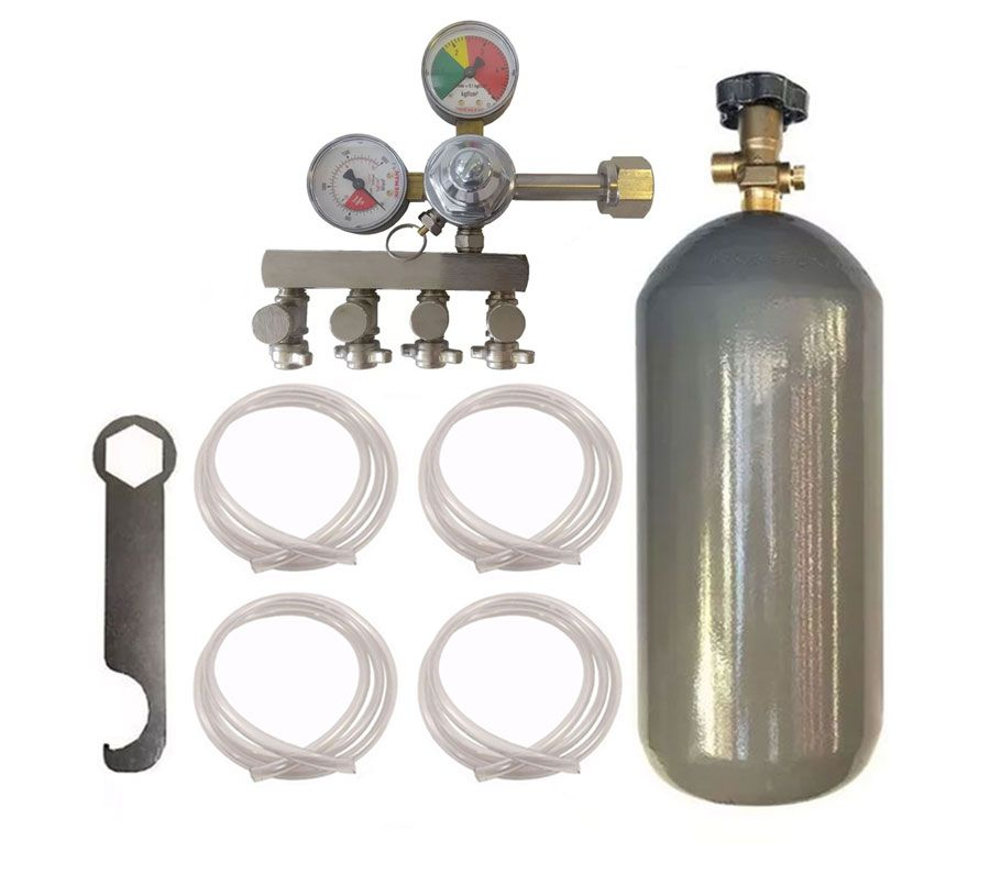 KIT DE EXTRAÇÃO CO2 4KG COM REGULADOR DE 4 VIAS PARA CHOPP