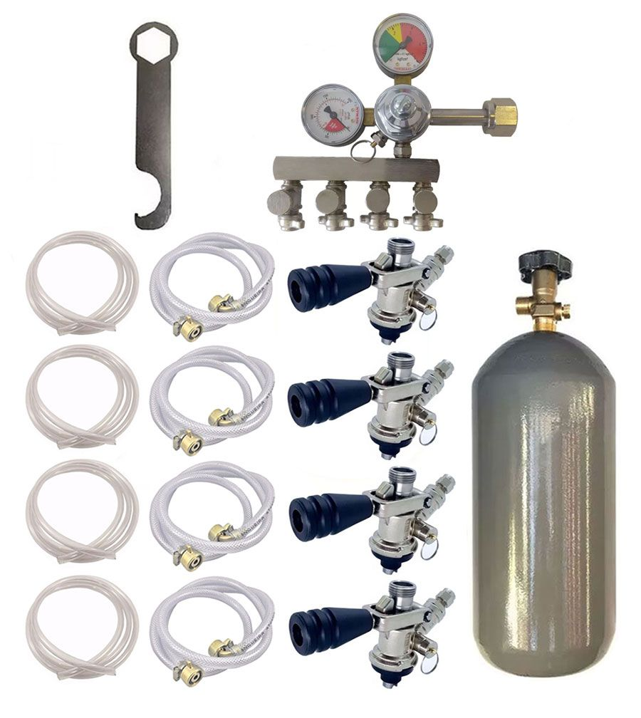 KIT DE EXTRAÇÃO CO2 4KG COM REGULADOR DE 4 VIAS PARA CHOPP COMPLETO