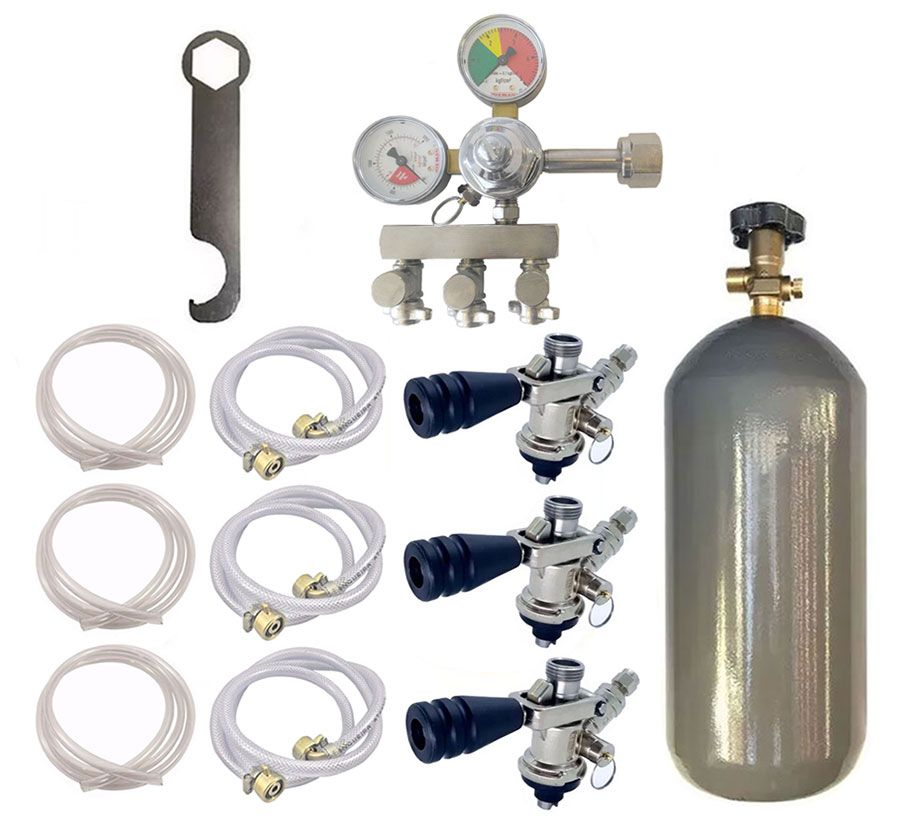 KIT DE EXTRAÇÃO CO2 6KG COM REGULADOR DE 3 VIAS PARA CHOPP COMPLETO