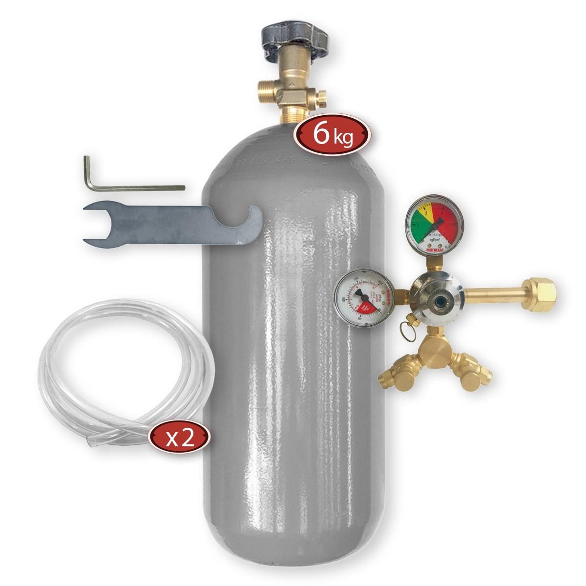 Kit Extração 2 Vias + Cilindro Co2 6Kg Para Chopp Ou Cerveja Artesanal