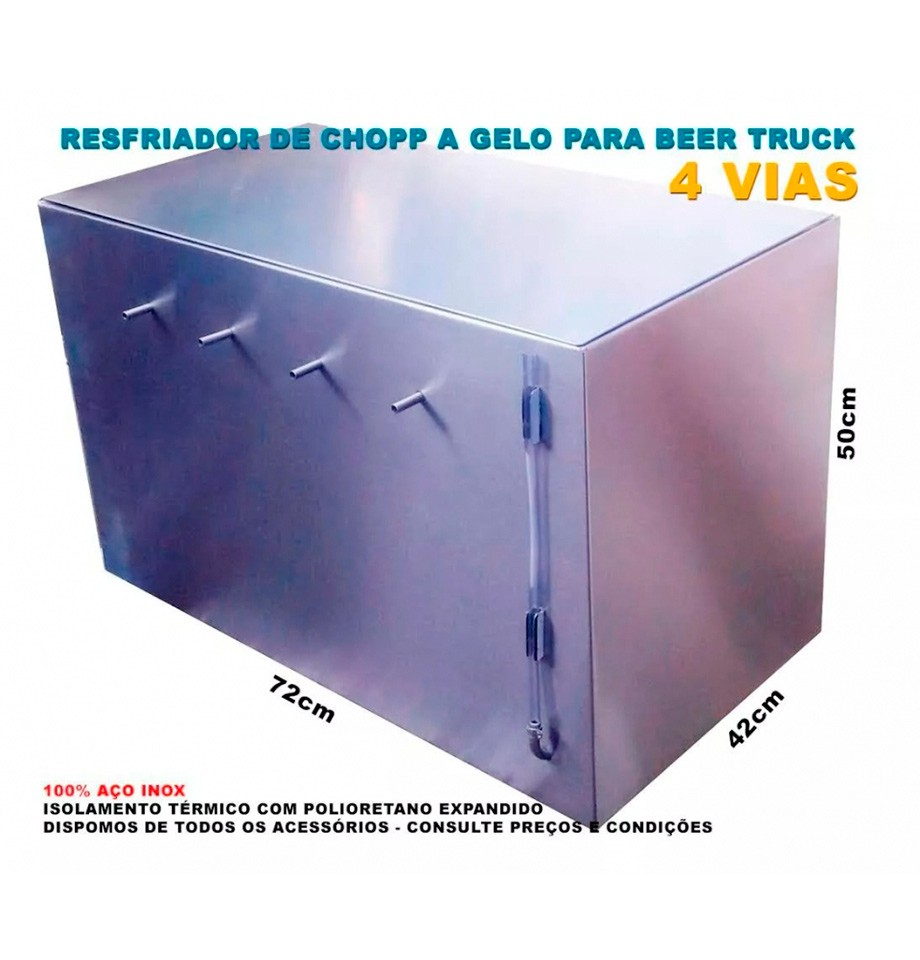 Resfriador De Chopp A Gelo Kegerator Para Beer Truck 4 Vias