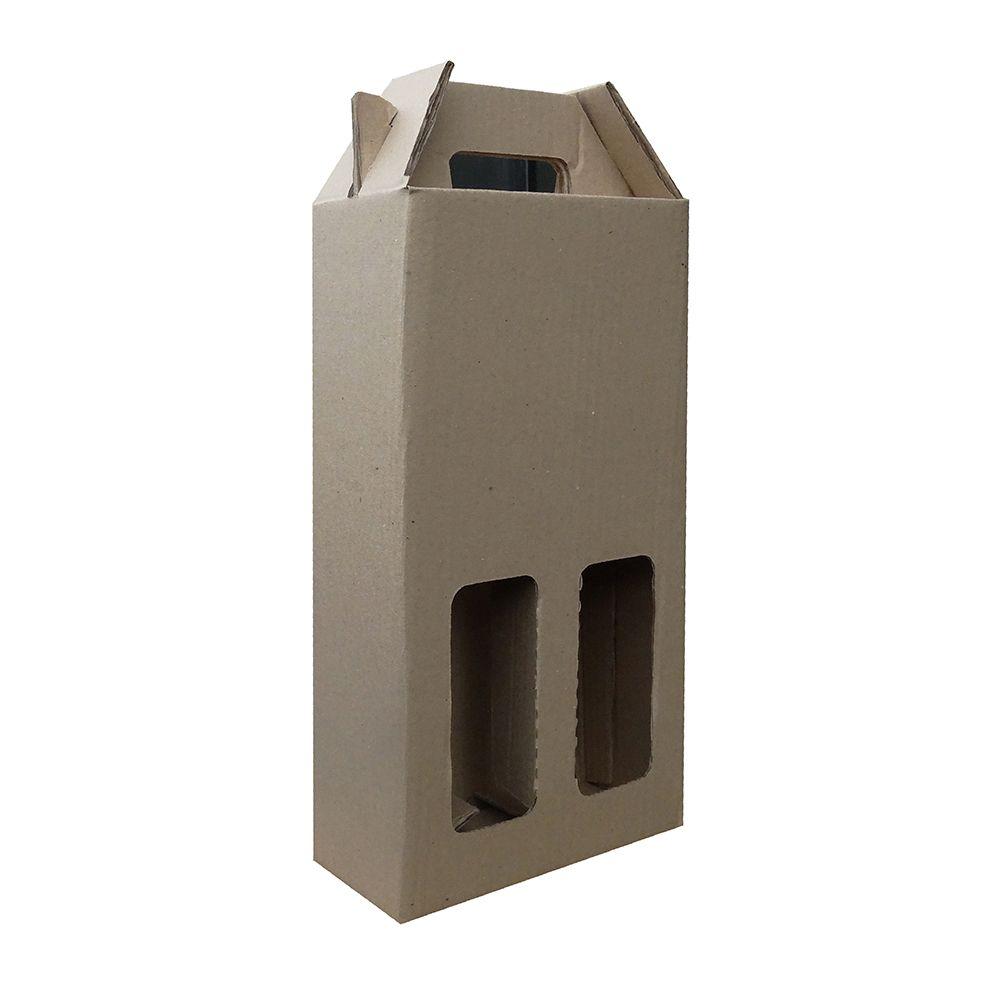 Caixa de Vinho p/ 2 Garrafas - Pardo - Pacote 5 Unid.