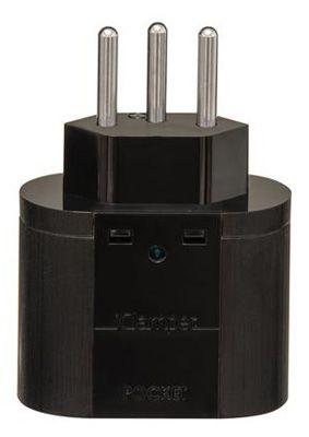 Adaptador 3 pinos de 20A c/ protetor de surto iCLAMPER Pocket 3P 20A Preto