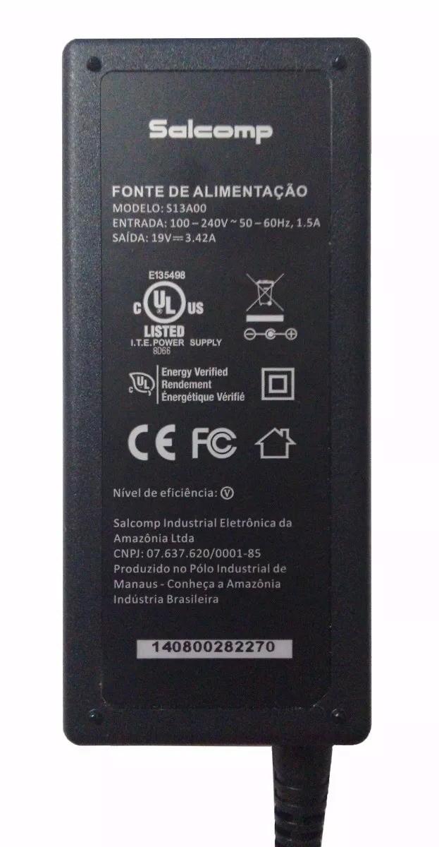 FONTE CARREGADOR NOTEBOOK ITAUTEC, POSITIVO E OUTROS SALCOMP ORIGINAL 19v 3.42a 5X2,5mm