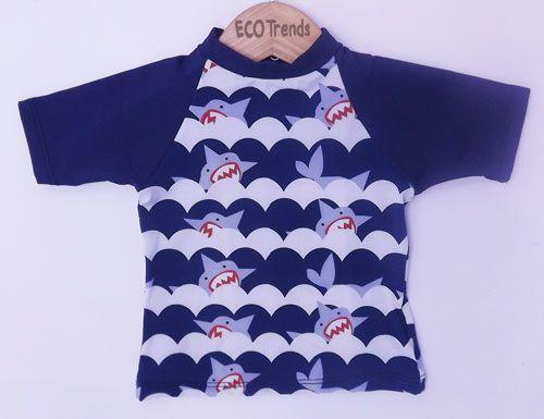 Camiseta com proteção solar manga curta Ecotrends - Tubarão