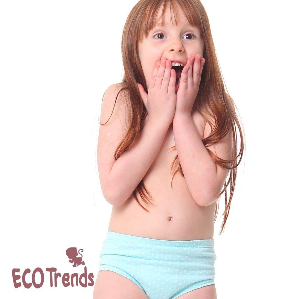 Kit bebê com 2 calcinhas de desfralde/treinamento Ecotrends - Poa azul e Branca
