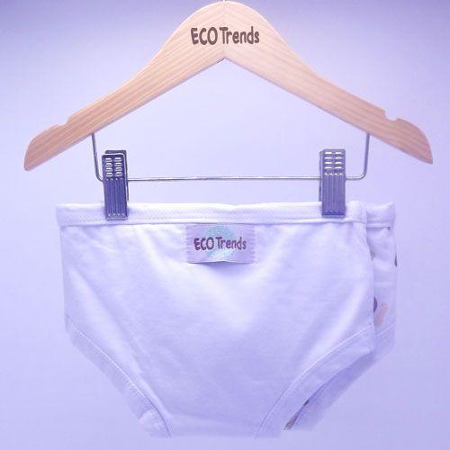 Kit com 2 cuecas de transição/desfralde Ecotrends - Cachorro Branco