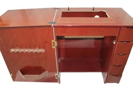 Gabinete Luxo 5 Gavetas para Máquina de Costura Mogno