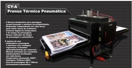 Prensa Térmica Pneumática com 2 Bandeijas 100 X 120