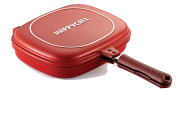 GRILL DIAMOND DOUBLE PAN JUMBO VERMELHO HAPPY CALL