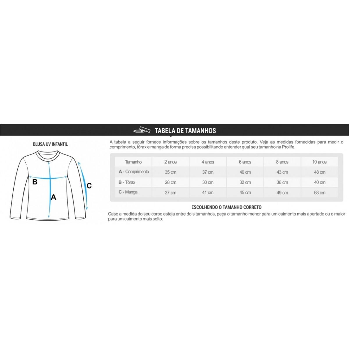 Camisa de proteção solar manga longa Infantil Prolife UV UPF 50+ COPO