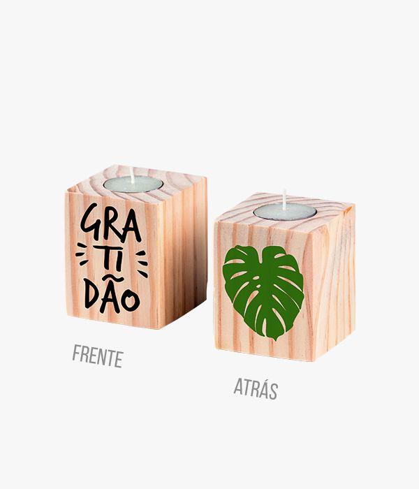 Porta Velas Decor - Gratidão  - Greenpallets