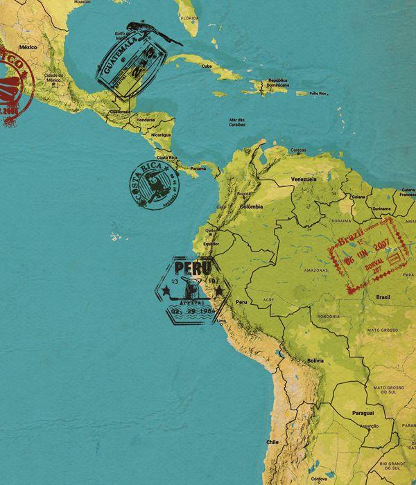 Quadro Mapa Mundi Conjugado