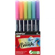 Kit Caneta pincel Brush Pen pastel 6 cores Newpen